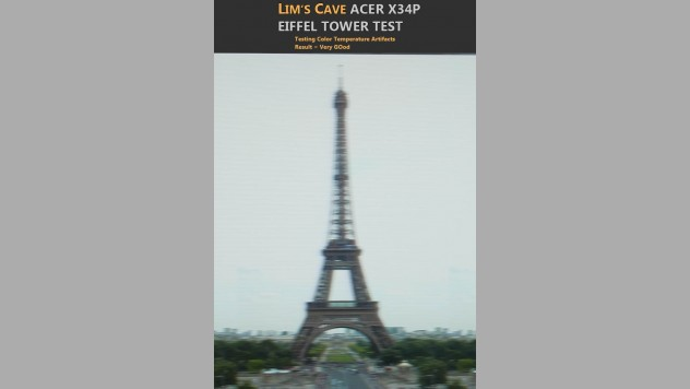 Eiffel Tower Test on the Acer X34P to evaluate ghosting, overshoot and color temperature artifacts