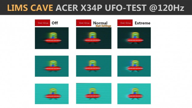 Acer x34p responsiveness ufo test and different motion blur overdrive settings