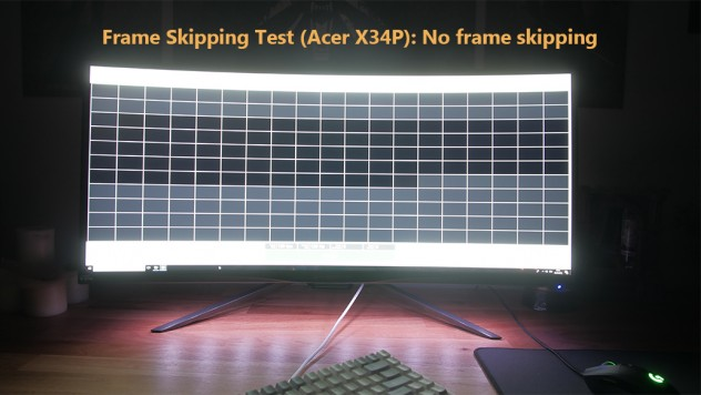 Frame skipping test on the Acer X34P. No frame skipping which means you will not have micro stutter in games