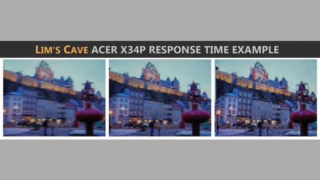 different overdrive settings on the acer x34p and an example photo of different settings to show the difference in motion blur and artifacts