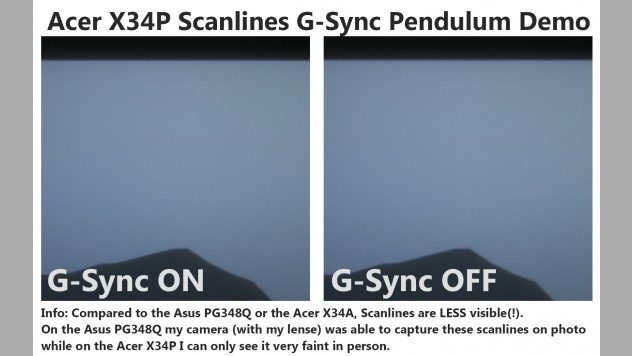 Acer X34P scanlines comparison. Extreme hard to obverse. These scanlines are very faint, less visivble than on previous 100Hz ultrawide panels, and even not possible to capture on camera