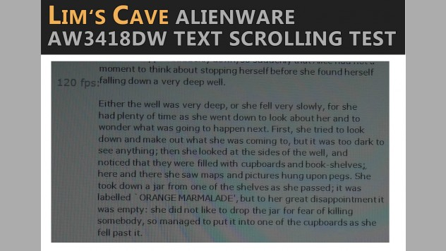 alienware aw3418dw text scrolling test